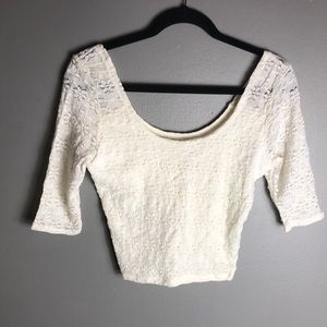 Hollister Ivory lace Stretch crop top M